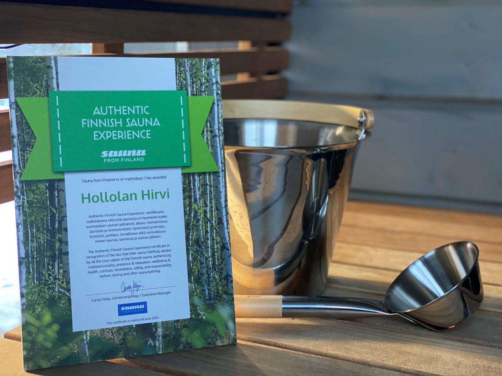 Quality Certificate Sauna Finnish
