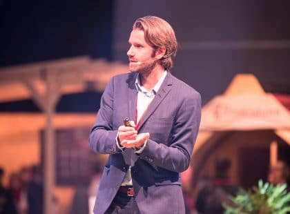Meik Wiking speaking at World Sauna Forum, Jyväskylä, Finland