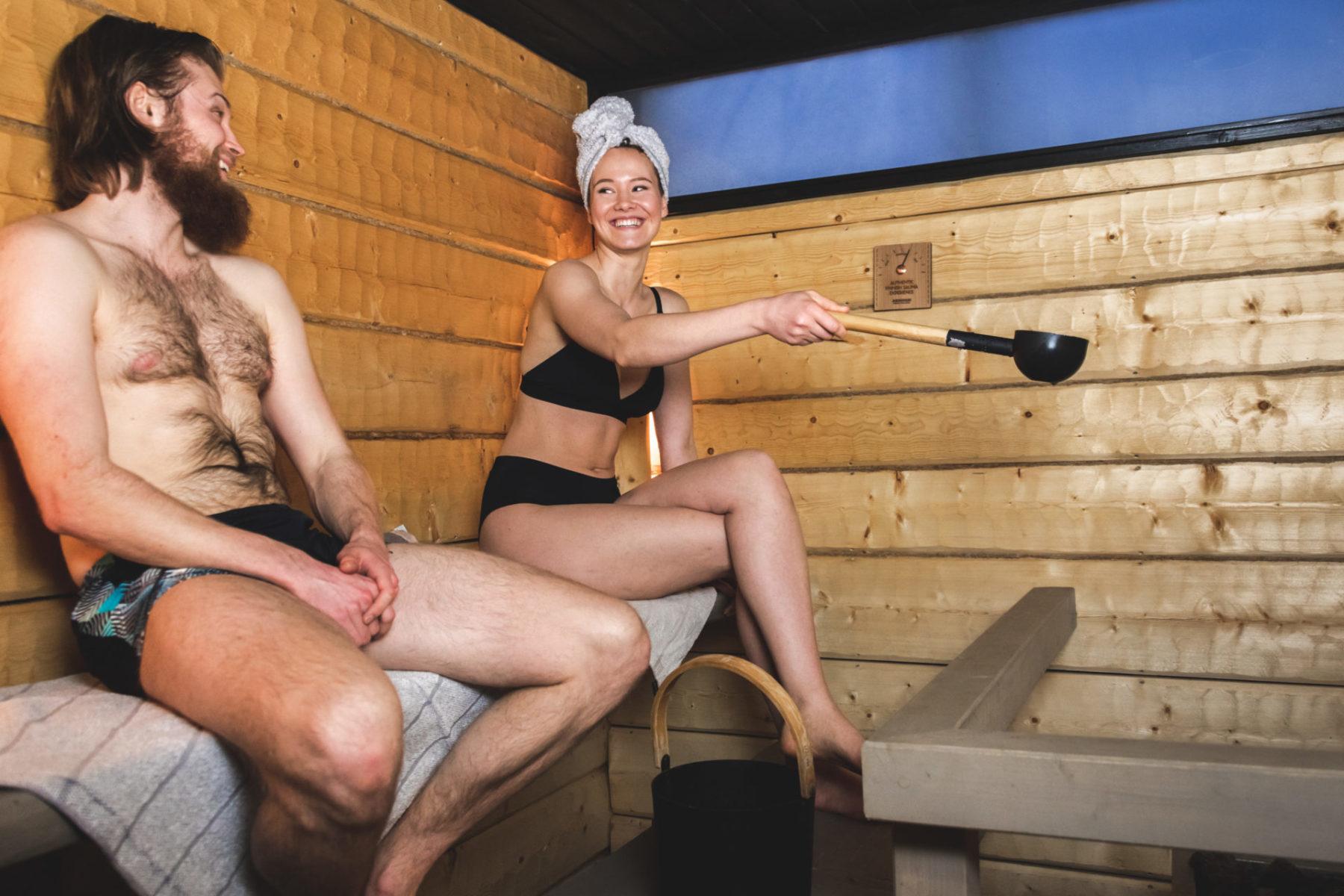 throwing water in sauna